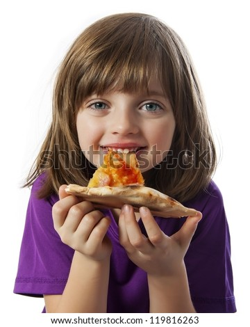 a little girl eating a pizza on a white background - stock photo