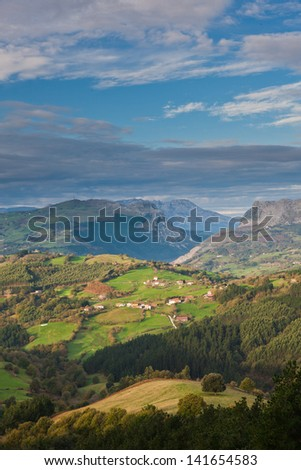 A little neighborhood in the Carranza Valley, Encartaciones, Bizkaia, Spain - stock photo