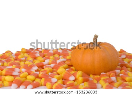 A little pumpkin surrounded by candy corn. - stock photo