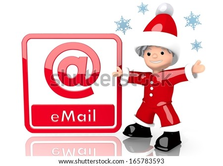 a little Santa Claus boy character presents a email sign isolated on white background with snowflakes - stock photo