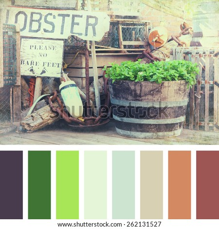A lobster pots, buoys and fishing equipment on the quayside. Textured retro style processing, in a colour palette with complimentary colour swatches - stock photo