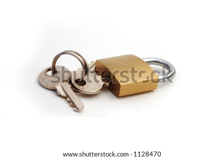 A lock with the keys attached - stock photo