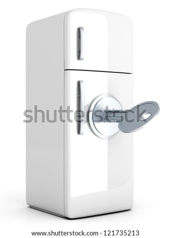 A locked, classic Fridge. 3D rendered Illustration. Isolated on white. - stock photo