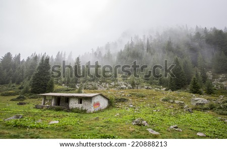 A lodge in the woods.  - stock photo
