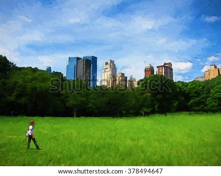 A lone figure walks across Sheep Meadow in New York City's Central Park - transformed into a colorful Springtime painting - stock photo