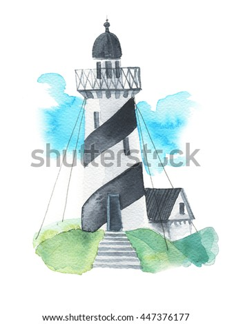 A lone lighthouse on the island - watercolor technique. Ocean story. Hand painted realistic illustration isolated on white background. - stock photo