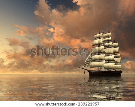 A lone ship against the morning sky. Digitally rendered of sailing ship. - stock photo