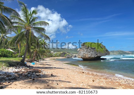 A lonely beach at Bathsheba, on the Atlantic side of Barbados, Lesser Antilles - stock photo