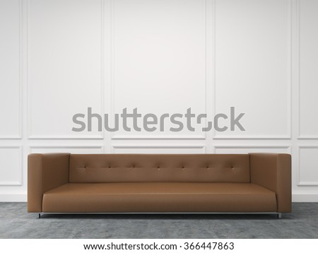 A long brown sofa standing at the white wall, three elements of wall decor in shape of rectangles over it. Front view. Concept of interior design. 3D rendering - stock photo