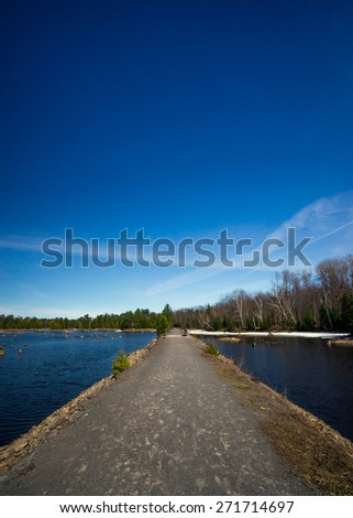 A long causeway running over wetlands disappears into its vanishing point toward the distant forest tree-line. - stock photo