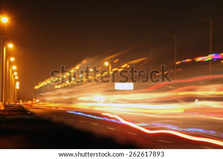 A long exposure in a road  - stock photo