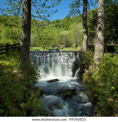 A long exposure of Falls from the Blue Ridge Escarpment. - stock photo