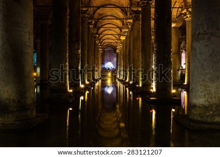 A long-exposure of the basilica cistern in Istanbul - stock photo