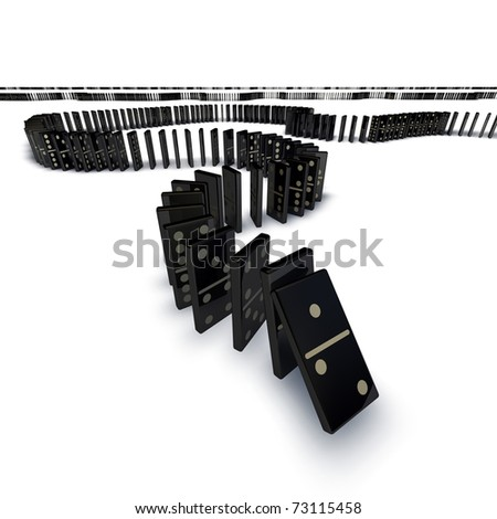 A long line of dominoes going into the distance starting to fall over cascade. - stock photo