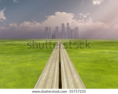 A long road to the distant city. - stock photo