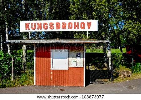 A long way from the Olympics - entrance to a small idyllic football ground in the Swedish countryside - stock photo