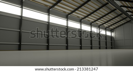 A long window in the wall of the hangar, 3d render - stock photo
