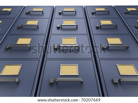 A look at tall blue filing cabinets from the ground up - stock photo