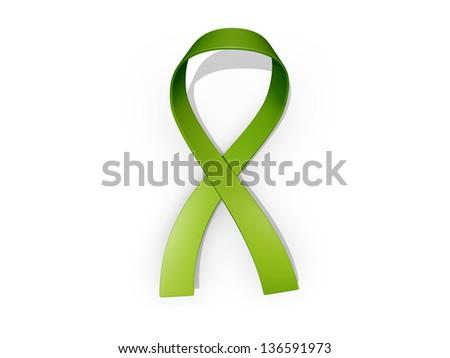 A looped green awareness ribbon - stock photo