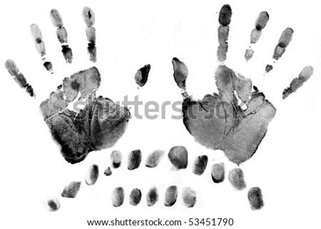 a lot of black fingerprints on white paper maded on scanner - stock photo