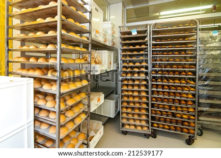 A lot of bread prepare to move on in the shelf - stock photo