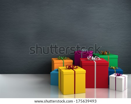 a lot of bright colorful gifts for birthday or christmas - stock photo