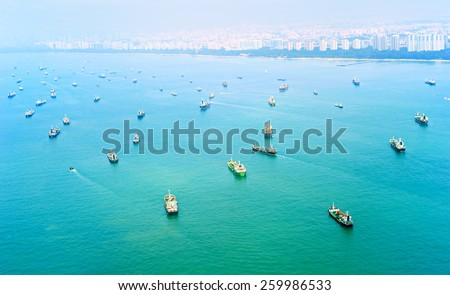 A lot of cargo ships in Singapore harbor. Top view - stock photo