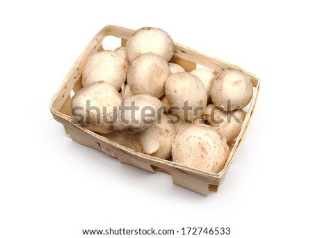 A lot of champignons in a wicker basket on white background - stock photo