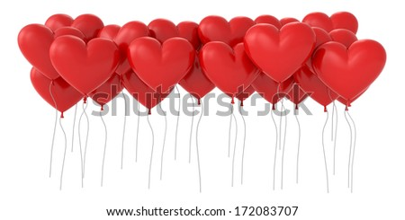 a lot of 3d heart shaped balloons - stock photo