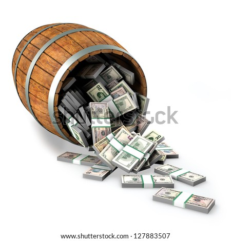 A lot of dollars fall out of a wooden barrel. Isolated on white - stock photo