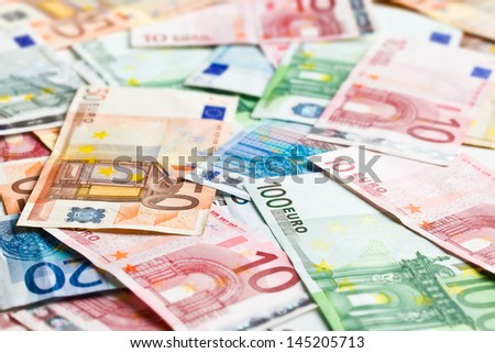 a lot of euro banknotes - stock photo