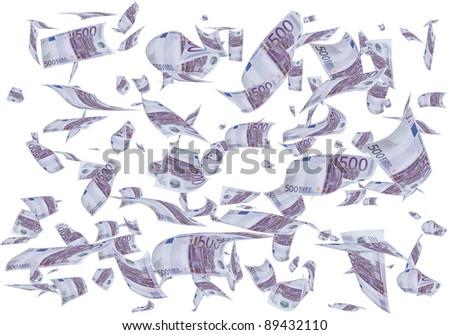 A lot of 500 euros bills falling like rain. - stock photo