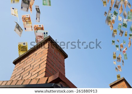 a lot of euros flies down the chimney - stock photo