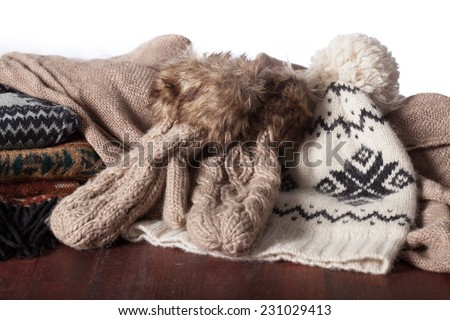 A lot of fashionable winter accessories, horizontal - stock photo