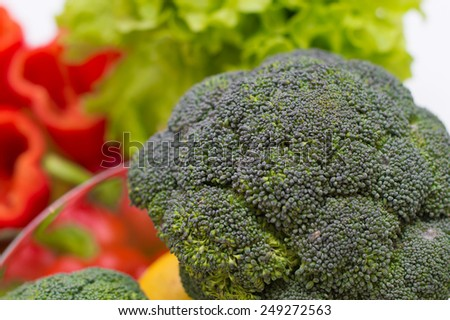 A lot of fresh colorful tasty organic vegetables - broccoli, pepper, salad and lemons - stock photo