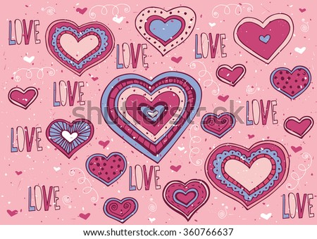 A lot of hearts and Love lettering with soft red color - Valentine's Day postcard concept. Raster version of illustration - stock photo