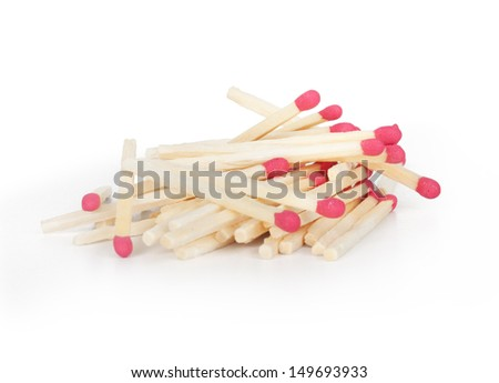 A lot of matches on white isolated background. - stock photo