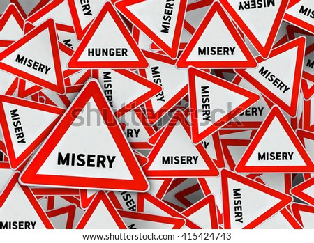 A lot of misery triangle road sign - stock photo