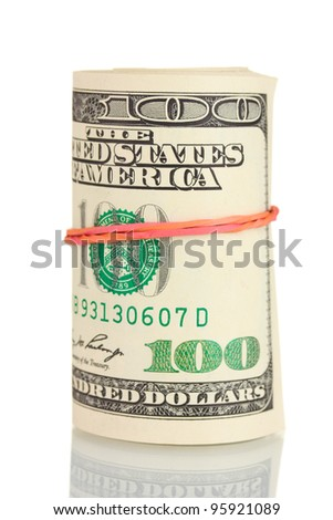A lot of one hundred dollar bills tied rubber band isolated on white - stock photo