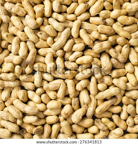 A lot of peanut in the shell. Top view. background - stock photo
