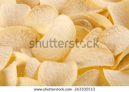 a lot of potato chips, a large depth of field - stock photo