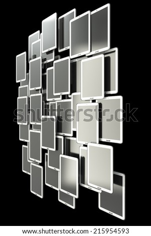A lot of Tablet PC. isolated on black background 3d illustration. high resolution - stock photo