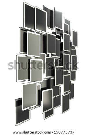 A lot of Tablet PC. isolated on white background 3d illustration. high definition - stock photo