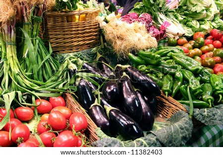 A lot of vegetables for sale - stock photo