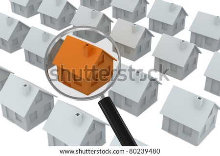 a lot of white houses with one of orange color pointed out by a magnifying glass (3d render) - stock photo