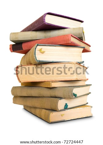 A lot to read, large pile of old books, isolated over white background. - stock photo