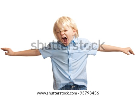 A loud and screaming young boy trying to get attention - stock photo