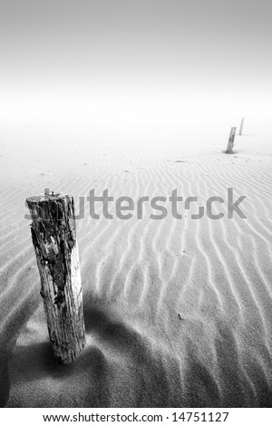 A low tide on a sandy beach - stock photo