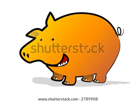 A lucky gold pig in the year of the pig - stock photo