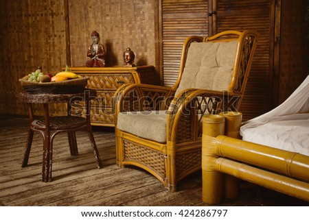 A Luxurious  interior of a oriental style bedroom - stock photo